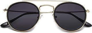 Small Round Polarized Sunglasses Double Bridge Frame Mirrored Lens SUNSET
