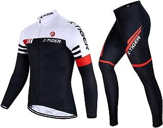 X-TIGER Men's Cycling Jersey Set Long Sleeve Biking Jersey with 5D Gel Padded Pants MTB Road Bike Cycling Clothing Set