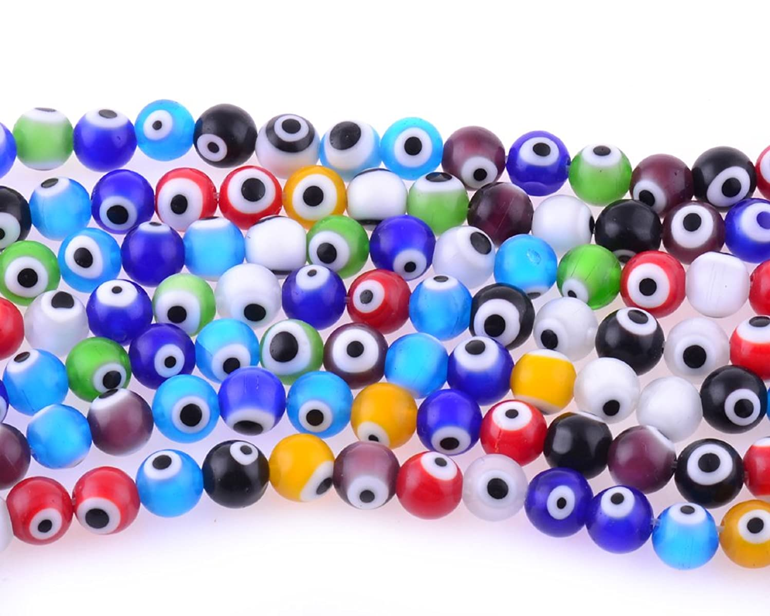 10mm 200 Pcs Evil Eye Glass Beads Assorted Colors of Jewelry Findings for Bracelet ,Necklace or Others