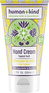 Human+Kind Hand Cream   Nourishes and Hydrates Hands, Elbows, and Feet   Enriched with Moisturizing Avocado Oil and Shea Butter   Natural, Vegan Skin Care   Tropical Fresh Scent - 1.7 fl oz