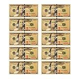 Lots 10pcs 1:1 $ 100 dollar Gold Foil USD Paper Money Banknotes Crafts UNC