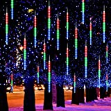 Jhua 2 Pack Meteor Shower Lights LED Falling Rain Lights 11.8in 8 Tube 192 LEDs Waterproof Icicle Snow Fall String Cascading Lights, Christmas Lights for Holiday Party Wedding, Garden, Multi Color