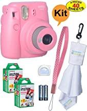 Fujifilm Instax Mini 9 Instant Film Camera + 20 Sheets of Instant Film + Lens Cleaning Cloth + Close-Up Selfie Lens + Wrist Strap | Batteries Included - Pink