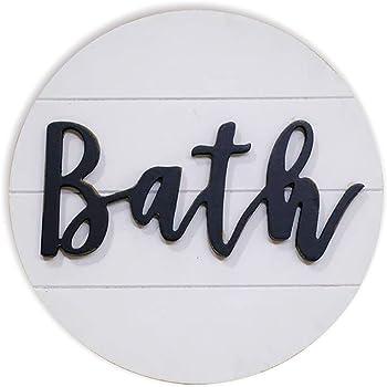 Amazon Com Lavender Inspired Rustic 3d Bath Sign For Bathroom Round Wood Bathroom Signs Decor Modern Farmhouse Bathroom Wall Hanging Sign Round Shiplap Signs For Bathroom 10 Everything Else