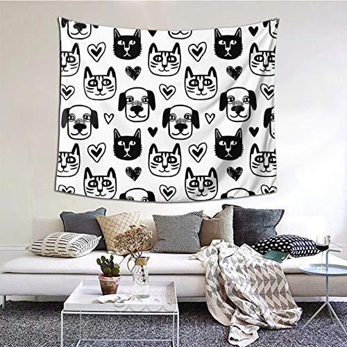 Tapices divertidos para colgar en la pared, diseño de perro y gato, color blanco y negro