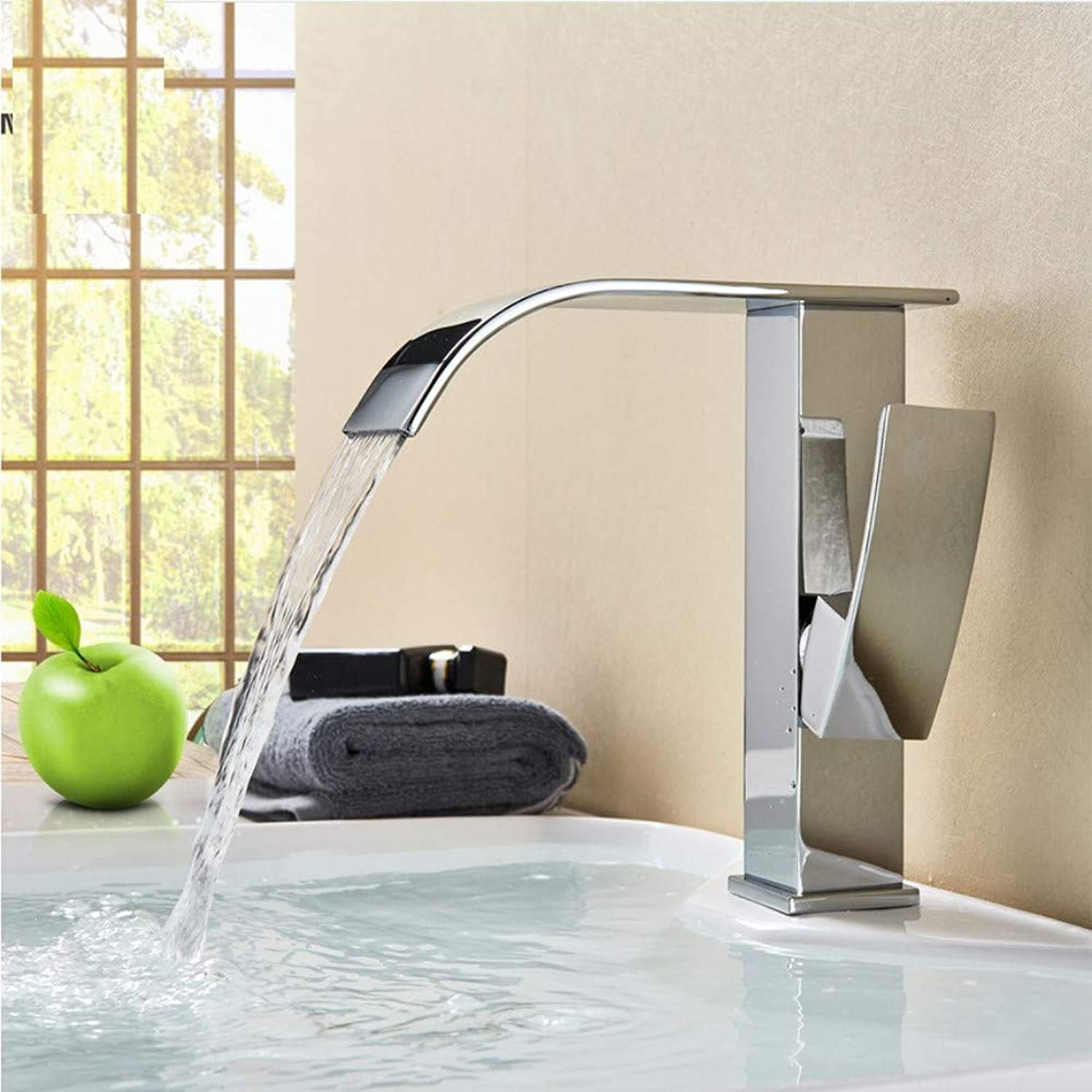 Bathroom Sink Tap Contemporary Chrome Waterfall Bathroom Basin Sink Faucet Single Handle Lavatory Sink Tap Deck Mounted