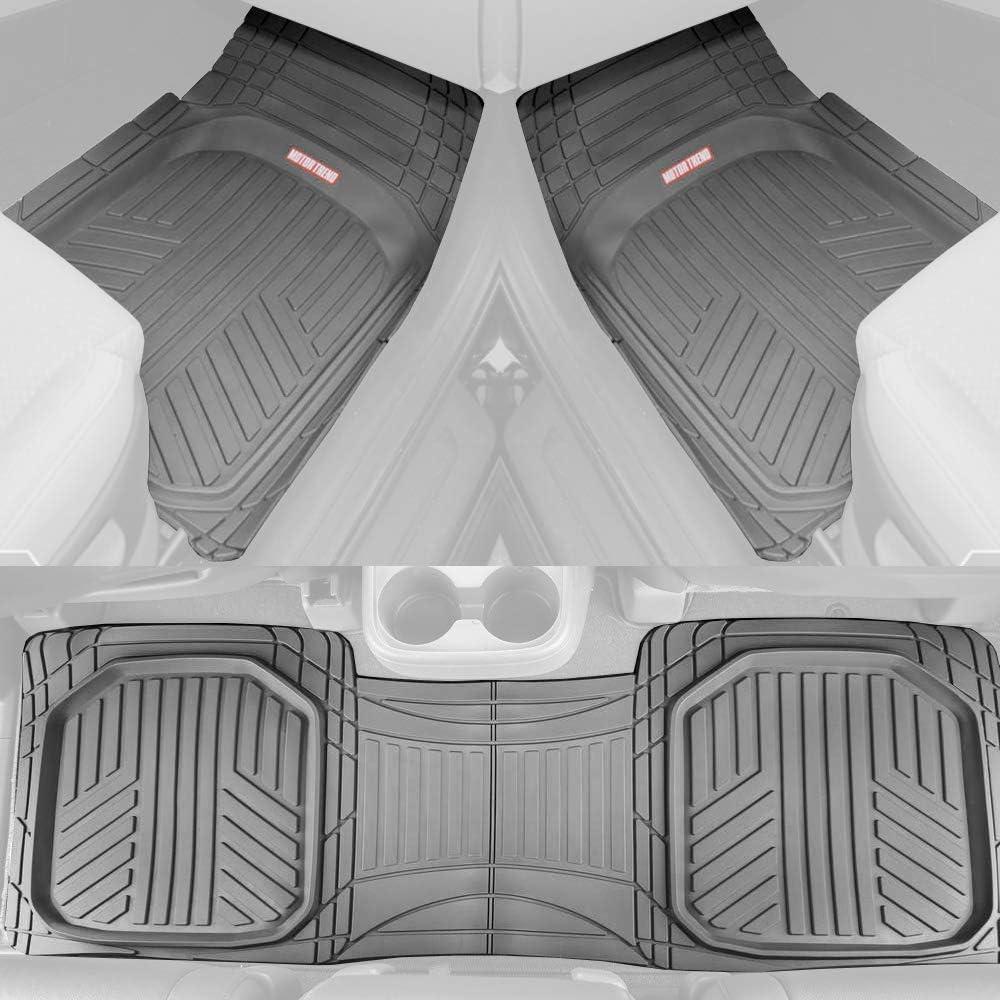 Motor Trend FlexTough Plus Gray Rubber Car Floor Mats – All Weather Deep Dish Automotive Floor Mats, Heavy Duty Trim to Fit Design, Odorless Floor Mat Liners for Cars Truck Van SUV