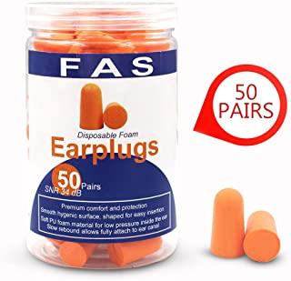 Fas Industry 50 Pairs Ultra Soft Foam Earplugs Noise Reduction for Working, Study, Sleep, Noring, Shooting, 37dB Highest SNR Ear Care Disposable Ear Plugs (Orange)