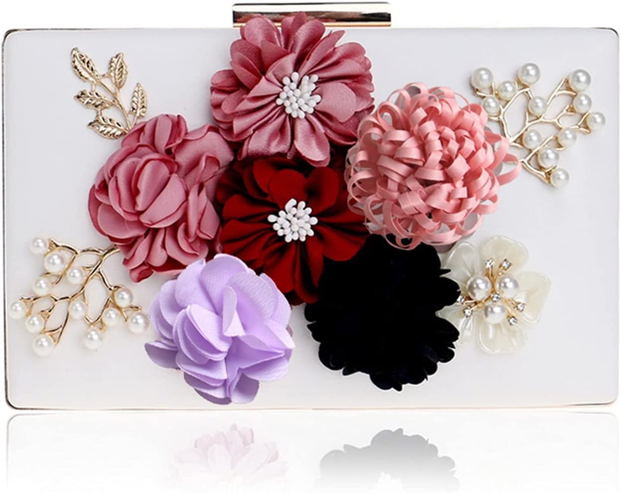 Evening Bag Women Clutch Bag Flower Beaded Evening Bags PU Leather Chain Shoulder Handbags Party Wedding Holder (Color : White, Size : Small)