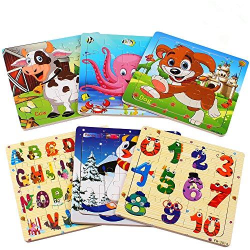 Swonuk Puzzle Madera niños, 20 Piezas Rompecabezas Madera Bebe, Include Animales, Numeros, Letras, Regalo para niños(6 Paquetes, 20 Piezas)