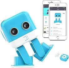 SGOTA RC Robot Multi-Functional Remote Control Robot Intelligent Educational Mini Dancing Robot with Music & Lighting (Blue)