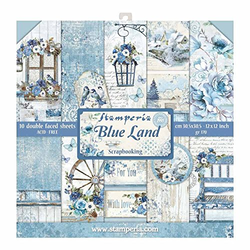 Stamperia International KFT Blocco 10 Fogli-Double Face Blue Land, Multicolore, 30.5 x 30.5 (12' x 12')