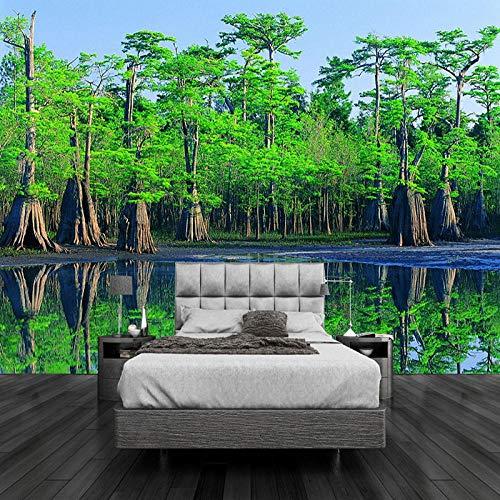 ZDBWJJ HD groene oerwoud landschap 3D fotobehang woonkamer TV sofa slaapkamer achtergrond wandontwerp 3D Wallpaper Fresko 350 cm x 245 cm.