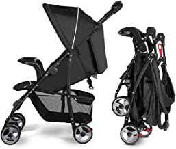 Costzon Lightweight Baby Stroller, Foldable Stroller with 5-Point Safety System and Multi Position Reclining Seat (Black)
