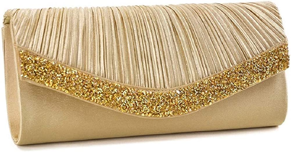 Dasein Women Satin Evening Bags Rhinestone Clutch Purses for Wedding Party Formal Dressy Handbag with Shoulder Chain
