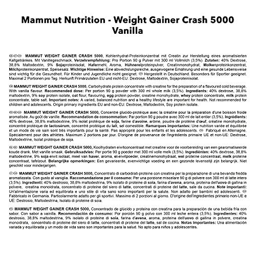 Mammut Weight Gainer Crash 5000, Kohlenhydrate Masseaufbau Kreatin, Vanille , 4.5 kg, 1er Pack - 6