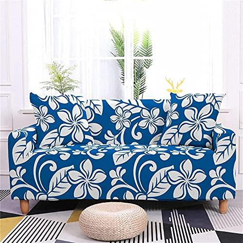 GFDGDS Cubierta de sofá de Estiramiento, Cubiertas de sofá de poliéster elástico Impreso, Flor roja, Flores Blancas Sofá Instalado Universal Funda para Funda Protector