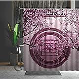 Duschvorhang 180X200 Chinesische Pfirsichblüte Duschvorhang Anti-Schimmel & Wasserabweisend Shower Curtain, Duschvorhänge mit 12 Haken,Duschvorhang Textil Waschbar,Polyester