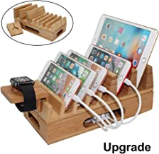 Pezin & Hulin Bamboo Charging Station Holder, Wood Docking Stand Organizer for Multiple Devices, Cell Phones, Tablets, Laptop, with Bonus Stand for Watch Charge (NOT Include USB Charger and Cables)