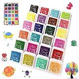 Stempelkissen Set, DazSpirit Fingerabdruck Stempelkissen Ungiftig Abwaschbar Stamp Pad für Papier Handwerk Stoff, Scrapbook, Kinder Geburtstags (24 Pack)