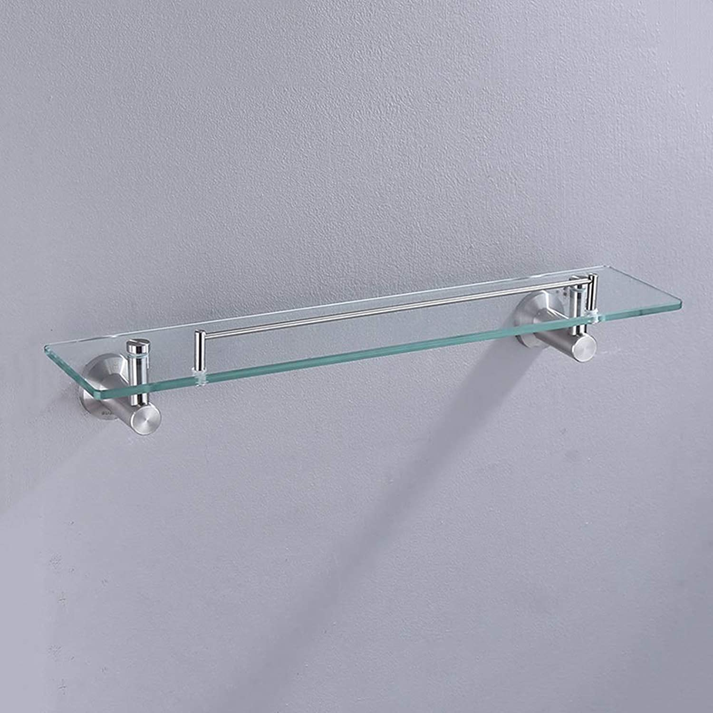 Bathroom Glass Shelf, Wall-Mounted Bathroom Single-Layer Glass Shelf with 304 Stainless Steel Predective Fence Bathroom Glass Shelf