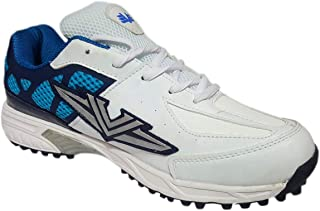 Vijayanti V-Sports White Blue Cricket/Hockey Shoes for Men