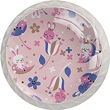 4 Pack Wit Kast Knoppen Dressoir Lade Knoppen Keuken Kast Knoppen Glas Oppervlak Decoratieve Knoppen Kast Deur Knoppen Roz...