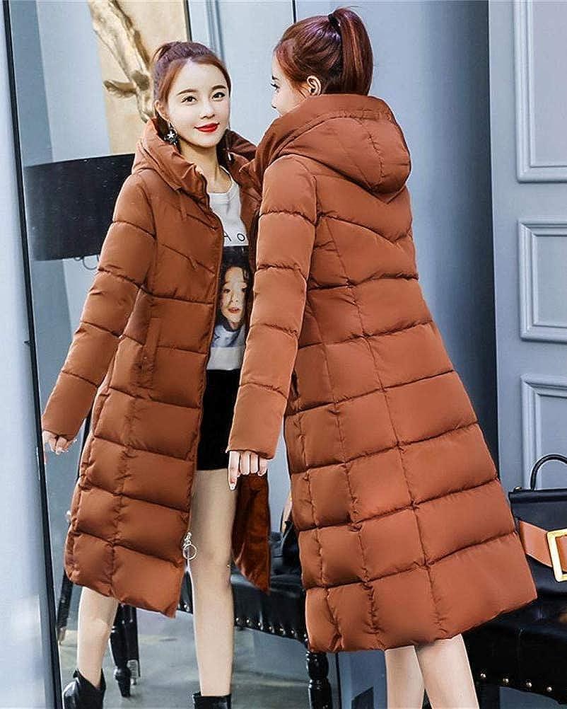 OranDesigne Warm Winterjacke Damen Wintermantel Lange Winter Jacke Parka Mantel Hooded Langarm Winterparka B Brown