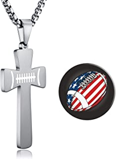 USA Football Cross Pendant. I CAN DO All Things Strength Bible Verse Stainless Steel Necklace
