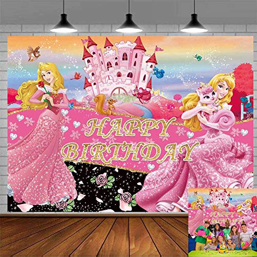 Sleeping Beauty Princess Aurora Backdrop Party Supplies Pink Flower Garden Background Photo Backgrounds Girl Birthday Banner Amimed Animal Backgrounds 7x5ft