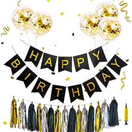 Cumpleaños Decoraciones, Happy Birthday Banner Set Sequin Confetti Balloons Gold Silver Black Tassel Trim para Decoraciones de cumpleaños