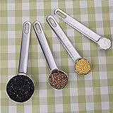 4piezas Cucharas medidoras de acero inoxidable con medición Gobernantes café leche peso, acero inoxidable, Plateado, A