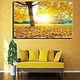SQSHBBC Schöne Sonnenaufgang Landschaft Leinwand Gemälde Für Wohnzimmer Dekor Gelb Warme Farbe Am Frühen Morgen Sonnenaufgang Ansicht Druck Und Poster Eine 60x90 cm ungerahmt