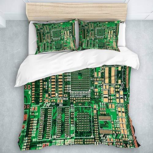 Rob565len King Size Duvet Cover Set, Bed Sets of 3 Printed Circuit Board,Quilt Case - Comforter Cover Bedroom Decor