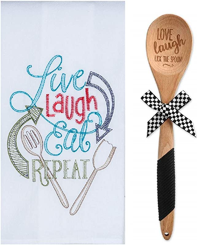 Love Laugh Kitchen Flour Sack Embroidered Towel And Wooden Spoon Bundle