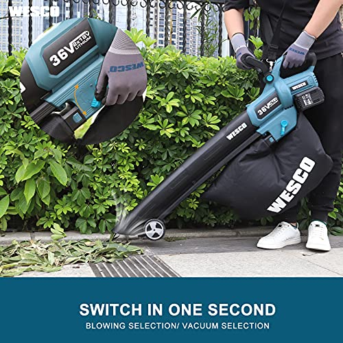 WESCO 36V 2 in 1 Cordless Garden Vacuum & Leaf Blower, 2 x 18V 4,0Ah Battery, 600m3 / h Suction Power & 190km / h Air Speed, with 45L Collection Bag and Charger, WS8513