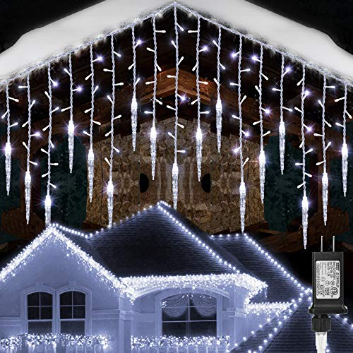Toodour Christmas Icicle Lights, 29.5ft 360 LED, 8 Modes, Window Curtain Fairy Lights with 60 Drops, Led Icicle Fairy Twinkle Lights for Party, Holiday, Wedding Decorations (Pure White)