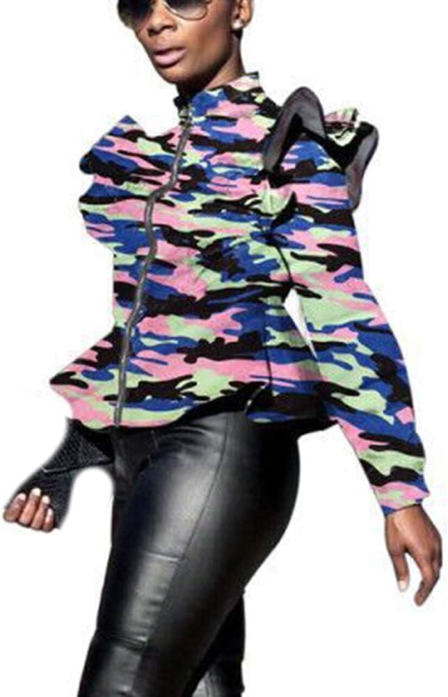 DFGHN Camouflage Print Jacket for Women Ruffle Long Sleeve Full Zipper Biker Jacket Spring Casual Short Coat,Blue,2XL