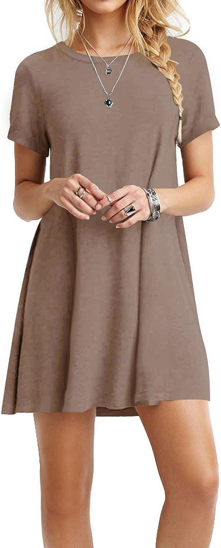 TOPONSKY Women's Casual Tunic Plain Fit Simple T-Shirt Loose Flowy Dress