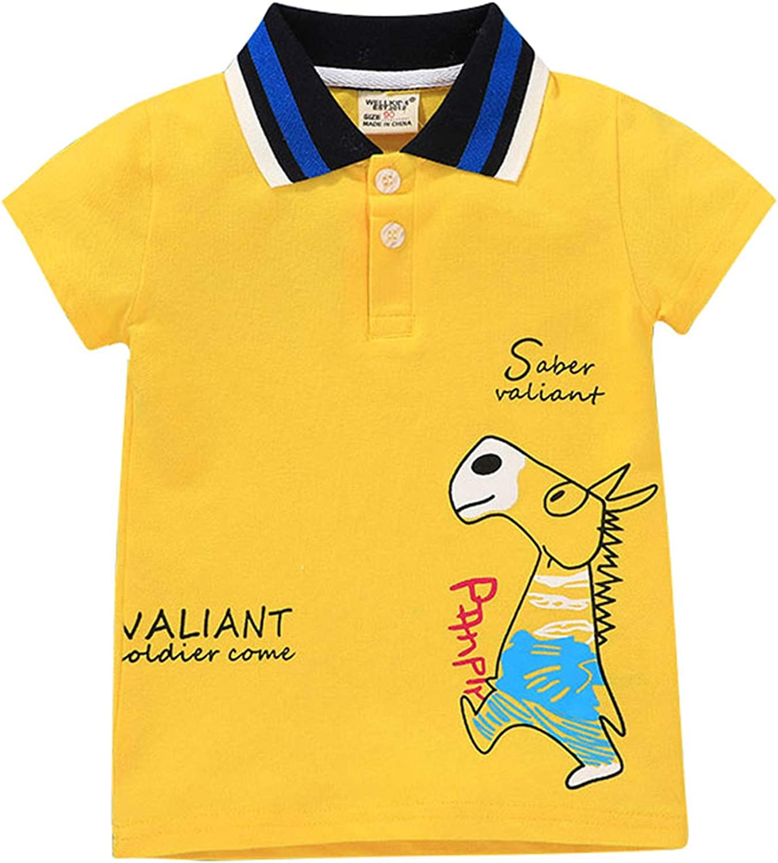 Toddler Kids Cartoon Clothe Short Sleeve Animals Childrens Collared Shirt Lapel T-Shirt Button Pullover Polo Tops Summer