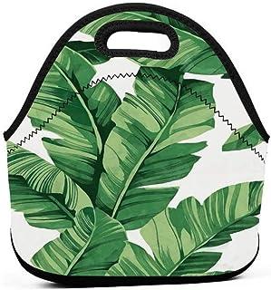 再利用可能な弁当ポーチポータブルキャリーランチトートバッグピクニックストレージバッグフードグルメハンドバッグランチボックス(熱帯植物バナナの木の葉デザイン)