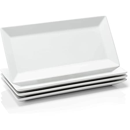 Amazon Com Sweese 704 101 14 Inch White Rectangular Plates Serving Platters For Party Dessert And Appetizers Porcelain Serving Plates Set Of 4 Platters