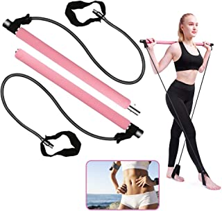 Pilates Exercise Stick, BicycleStore Portable Yoga Bar Kit with Resistance Band Multifunctional Muscle Toning Bar Home Gym...