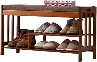 Banc de rangement pour chaussures Banc de rangement pour chaussures en bambou Organisateur de rangement d'entrée à 3 nivea...