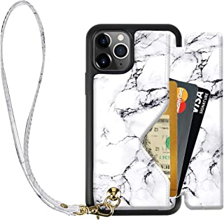 iPhone 11 Pro Max Wallet Case, iPhone 11 Pro Max Printed Case Marble, ZVEdeng iPhone 11 Pro Max Card Holder Case with Wrist Strap Lanyard Magnetic Flip Case Handbag Purse,6.5inch-White Marble