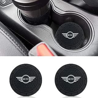 monochef Auto Sport 2.75 Inch Diameter Oval Tough Car Logo Vehicle Travel Auto Cup Holder Insert Coaster Can 2 Pcs Pack Fit Mi-ni Accessory