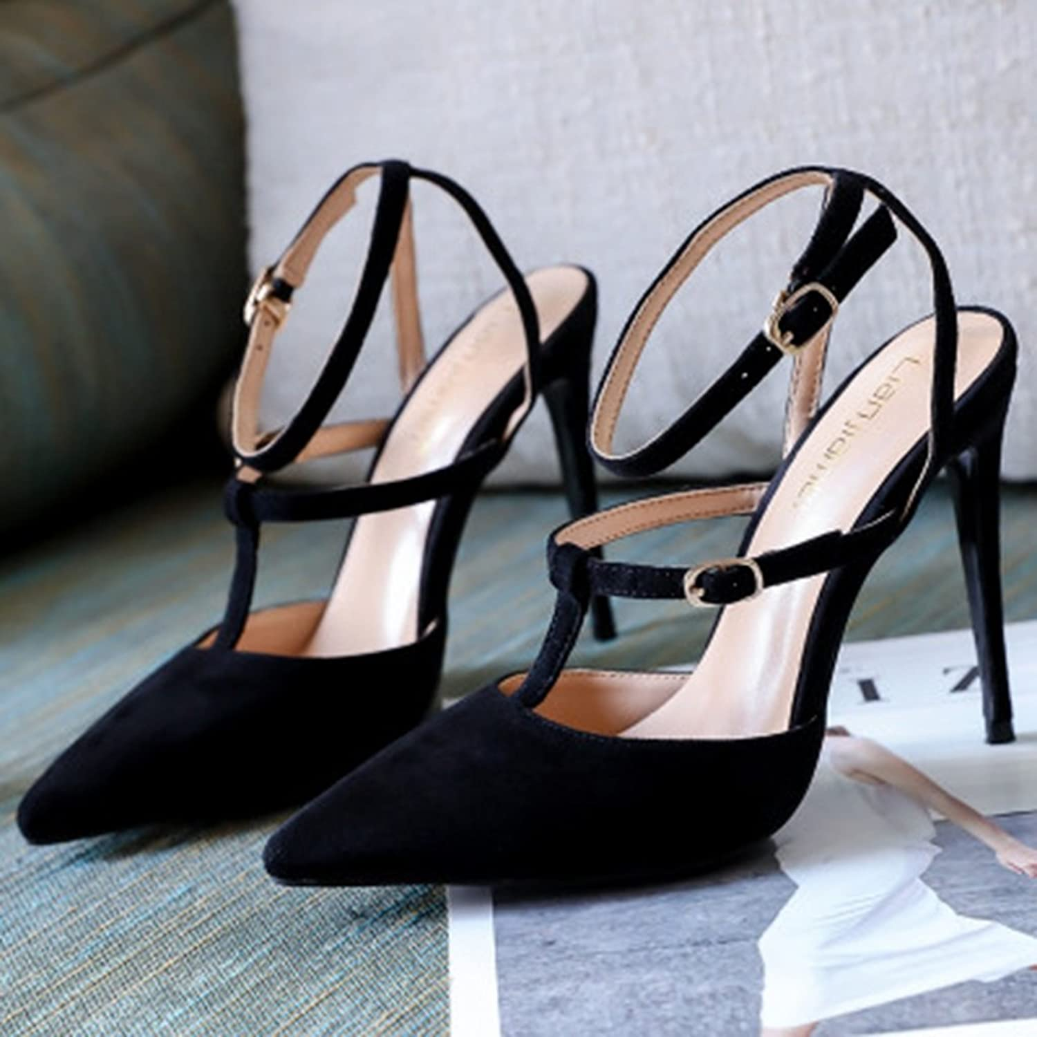 High Heel Female shoeslace Buckle Single shoes Summer Pointed high Heels Shopping Dating shoes (color   Black, Size   37)