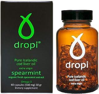 Dropi Cod Liver Oil 2000mg - Omega 3 - Extra Virgin - 60 Capsules - Spearmint