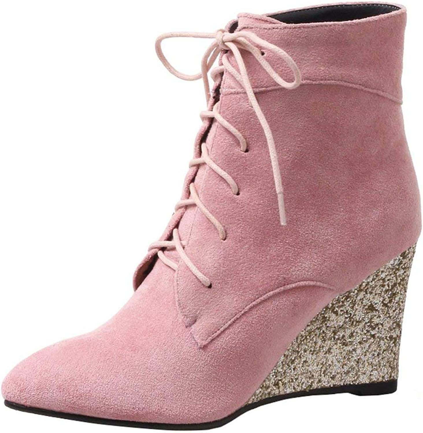 Vitalo Womens High Heel Lace Up Wedge Ankle Boots Pointed Toe Glitter Heel Booties