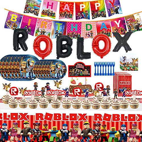 Robot Blocks Party Supplies for Kids' Birthday, Ro-blox Favors Included Banners, Forks, Gift Bags, Cupcake Toppers, Cake Topper, Plates, Tablecover, Napkins and Foil Balloons Decorations Robot Blocks Birthday Party Favors for Kids Baby Birthday Decoration